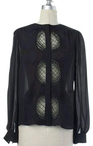 Diane von Furstenberg Dvf Silk Lace Top Black