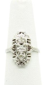 NYCFineJewelry 0.10CT (Approximately) Three Diamonds Ring 10K White Gold,SIZABLE