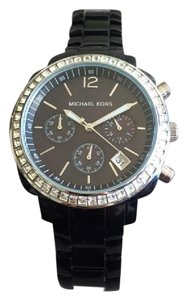 Michael Kors Black MOP Dial Black Acrylic Bracelet with Glitz Watch (MK-5080)