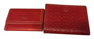 Coach Coach red leather embossed wallet and card case to match