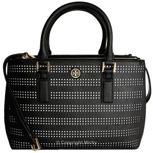 Tory Burch Leather Perforated Robinson Tote Double Zip Satchel in Black / Birch