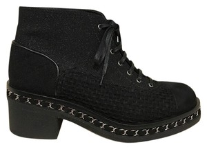 Chanel Chain Tweed Combat Ankle black Boots