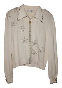 St. John Pallets Vintage Studded Top white with gold and silver