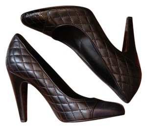 Chanel Quilted Black Heel BLACK/NAVY Pumps