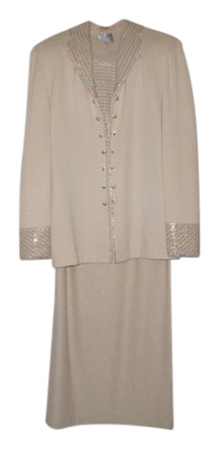 Item - Off White/Gold/Silver Evening Skirt Suit Size 10 (M)