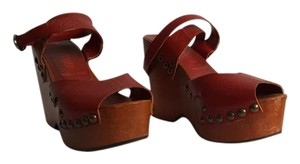 Miu Miu Boho Vintage Leather Wedges Red Platforms