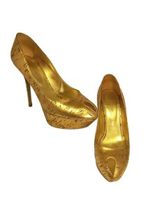 Sergio Rossi Leather Gold Pumps