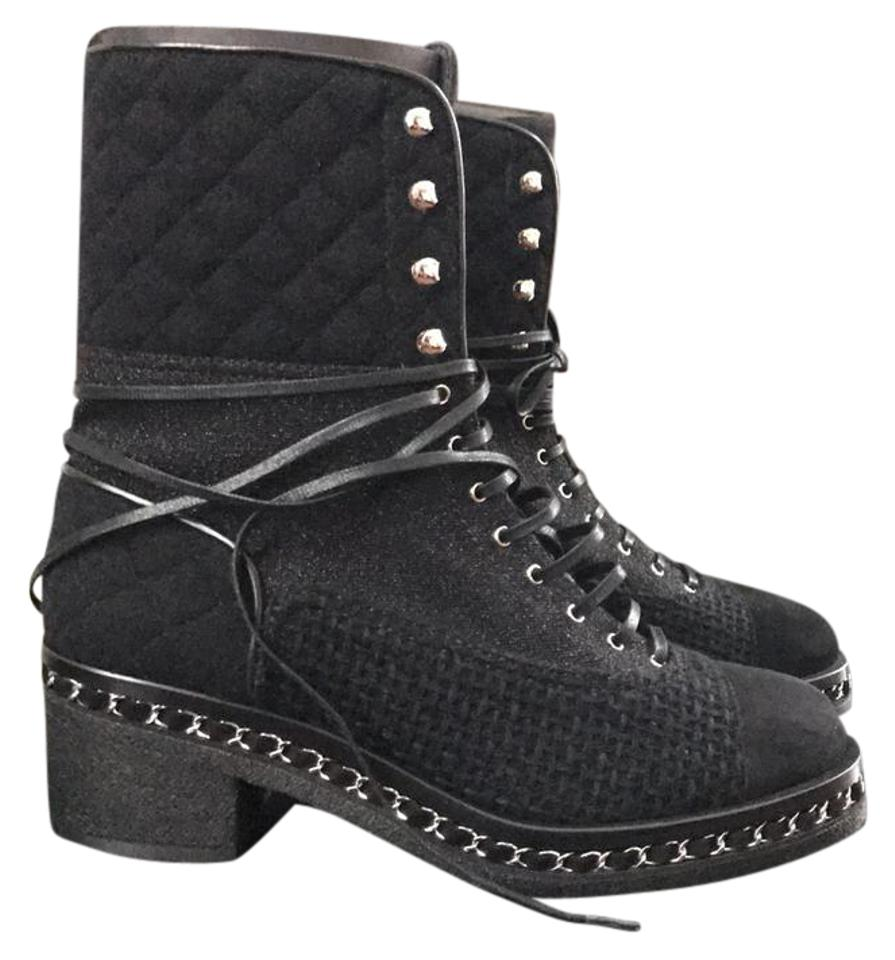 Chanel Black Combat Chain Lace Up Military Quilted Tweed Suede Boots