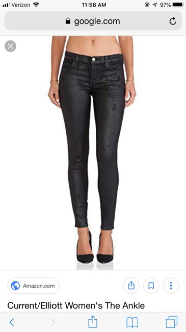 Current/Elliott Ankle Trucker Coating Skinny Jeans-Coated Image 5