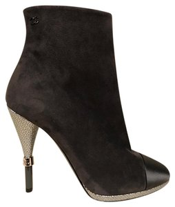 Chanel Suede Stiletto Pump Calfskin grey Boots