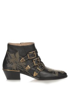 Chloé Chloe Leather Ankle Susannah Black Boots