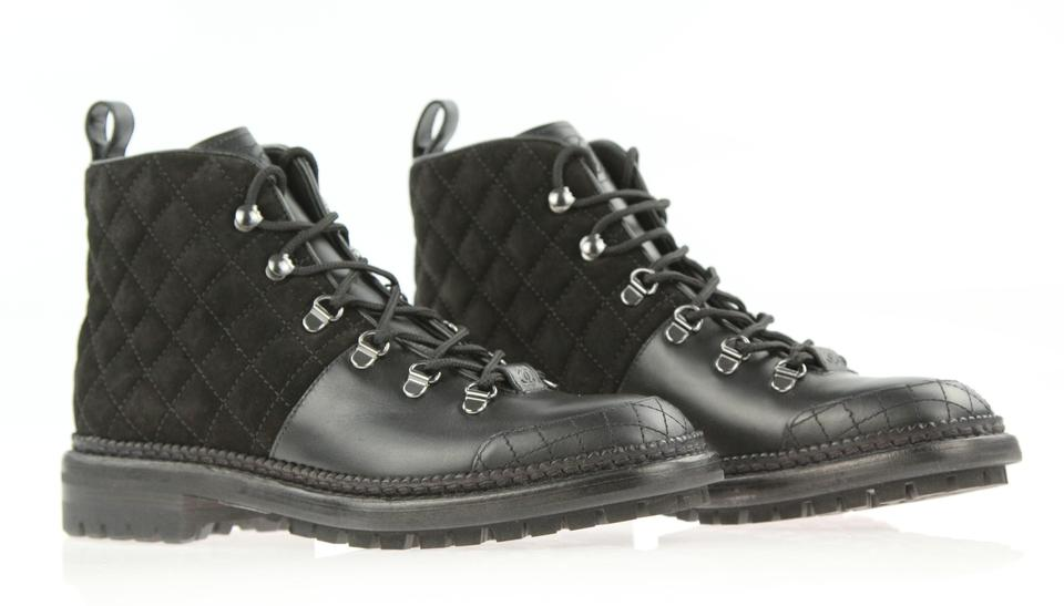Chanel Black Quilted Suede Leather Cc Logo Lace Up Ankle