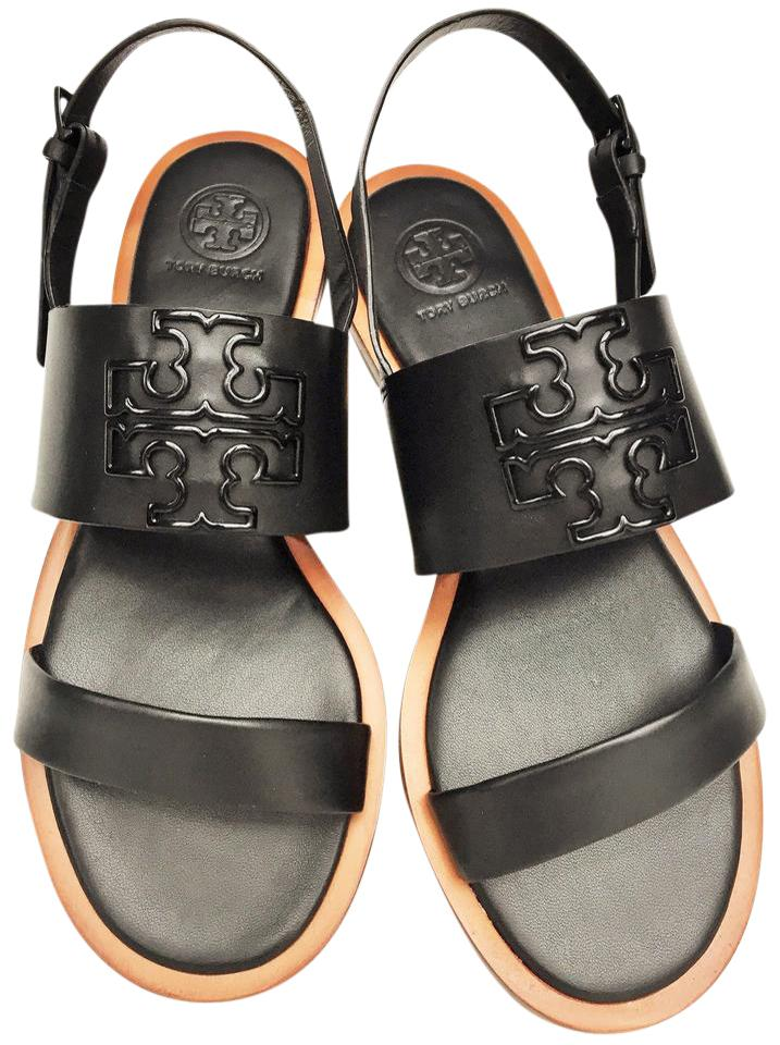 7860ed392 Tory Burch Black Powder Coated Melinda Leather Sandals Size US 7 ...