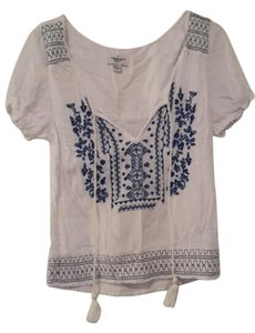 American Eagle Outfitters Boho Top white and blue