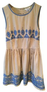 Esley short dress Tan/Blue Embroidered Summer Unique on Tradesy