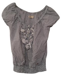 Abercrombie & Fitch Boho Floral Top blue and white