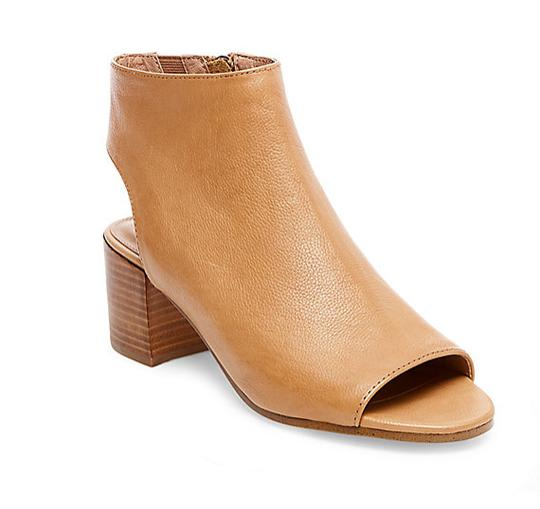 Steve Madden Leather Mule Peep Toe Camel Boots Image 1