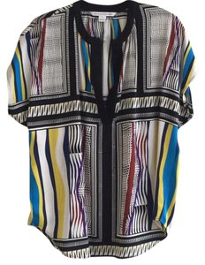 Diane von Furstenberg Top Bold multicolor geometric print. Collar and V opening trimmed in black.