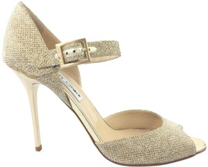 Jimmy Choo Glitter Fabric Mary Jane Pewter Gold Sandals