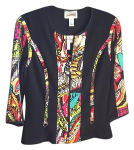 Joseph Ribkoff Top black with multicolored trim