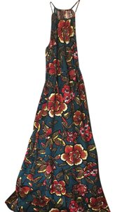 multi teal yellow red brown Maxi Dress by Ann Taylor LOFT