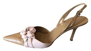 Valentino Slingback Flower Leather Tan Pink Pumps