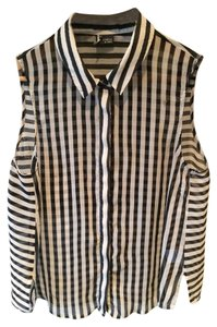 Sparkle & Fade Business Striped Sleeveless Button Classic Top Black/White