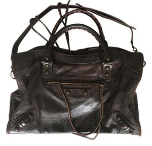 Balenciaga Lambskin Leather Studded Tote in Brown