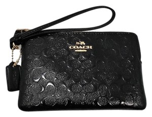 Coach COACH Corner Zip Patent Leather F55206 Black small Wristlet