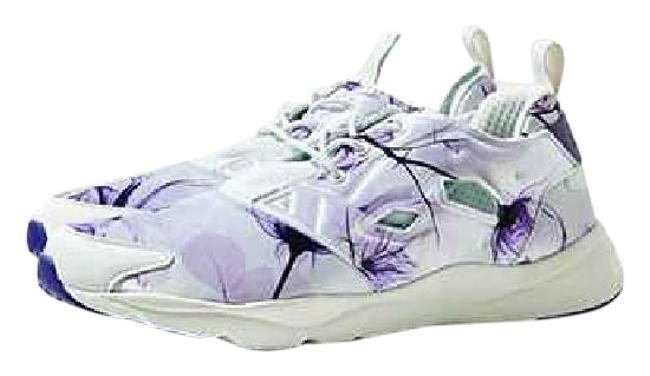 Item - White and Lavender Floral Furylite Sneakers Size US 7 Regular (M, B)
