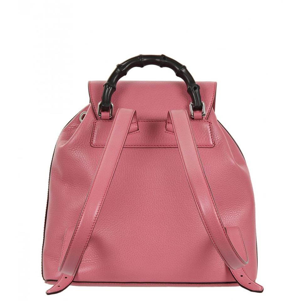 fa0e06c46be7 Gucci Bamboo Handle 370833 5528 Bubblegum Pink Leather Backpack ...