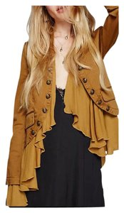 Other Chiffon Peplum Military Ruffle Bohemian Antique Gold Jacket