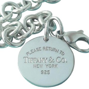 Tiffany & Co. CLASSIC!! Tiffany & Co. Return to Tiffany Round Tag Charm Bracelet Sterling Silver 7.5