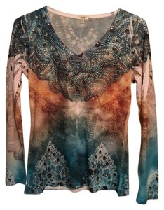 Cache Long Sleeve Beaded T Shirt turquoise and brown pattern