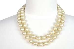 Chanel Chanel in Bag Jumbo Pearl Double Chains Gold Plated Necklace 13 mm