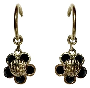 Chanel Gold-Tone Flower Interlocking CC Logo Crystal Drop Earrings + Box