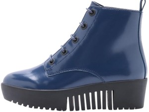 Opening Ceremony Grunge Patent Leather Platform Blue Boots