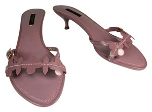 Louis Vuitton Lv Logo Leather Lavender Heels Sandals