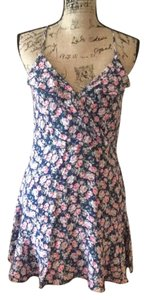 American Eagle Outfitters short dress Blue with pink and cream roses on Tradesy
