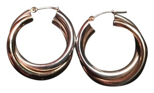 10kt. gold and sterling silver crossover hoops