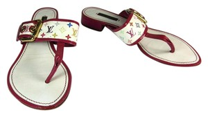 Louis Vuitton Lv Leather Red White Flat Sandals