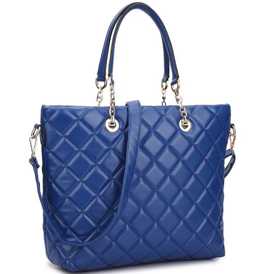 Preload https://img-static.tradesy.com/item/20469553/with-chained-handles-blue-quilted-faux-leather-tote-0-2-540-540.jpg