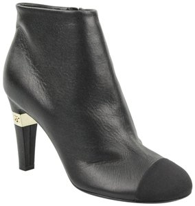 Chanel Calfskin Leather Pump Silver black Boots