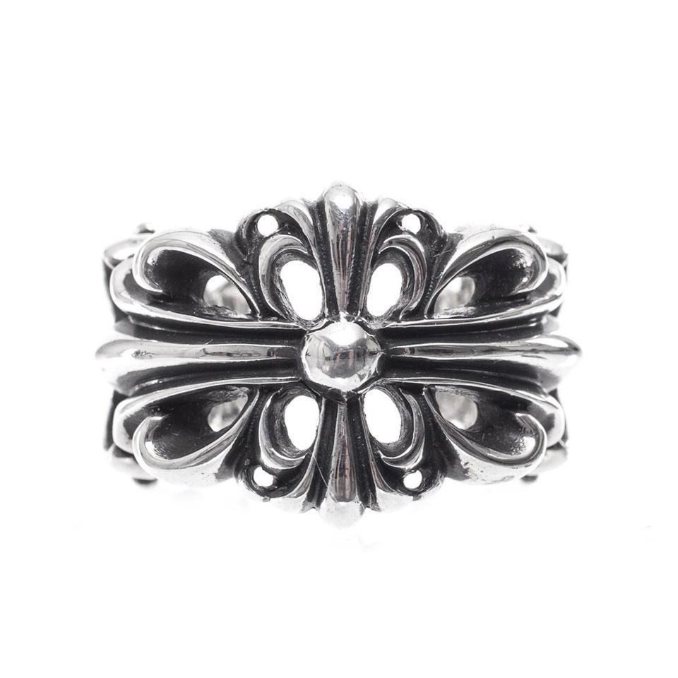 Chrome Hearts Silver Double Floral Cross Multiple Sizes Ring - Tradesy
