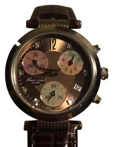 Kenneth Cole Kenneth Cole mother of pearl watch with chocolate leather band
