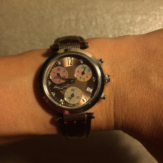 Kenneth Cole Kenneth Cole mother of pearl watch with chocolate leather band Image 5