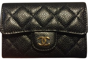 Chanel Chanel Classic Flap Card Holder In Black Caviar With Gold Hardware Coin Purse