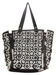 Other Genuine Embellished Floral Tote in Black and White