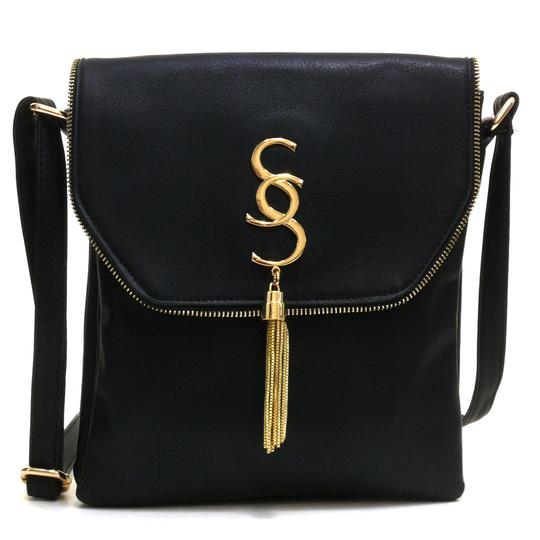 Preload https://img-static.tradesy.com/item/20469786/tassel-messenger-black-smooth-faux-leather-cross-body-bag-0-0-540-540.jpg