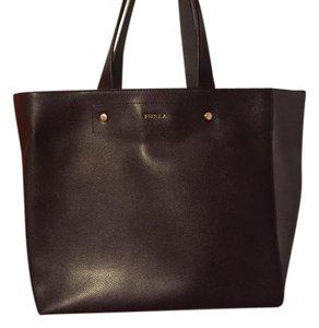 Furla Leather Dual Color Vintage Work Tote in Brown and Grey